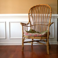Vintage Cane Patio Chair High Back Armchair by rhapsodyattic