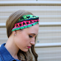 Southwestern Love Vintage Headband: Retro Bright Color Print, Southwestern Faux Head Wrap for Adults, 100% Cotton Fabric