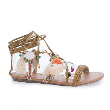 Bianca23 Tan Pu By Vigo Fiore, Tribal Leg Wrap Tassel & Charms Flat Sandals