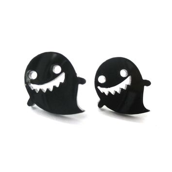 Adorable Laser Cut Acrylic Ghost Shaped Statement Stud Earrings in Black