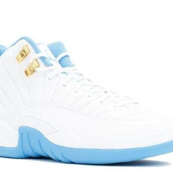 PEAPN Ready Stock Nike Air Jordan 12 Retro Gg(gs) Melo White Metallic Gold University Blue Basketball Sport Shoes