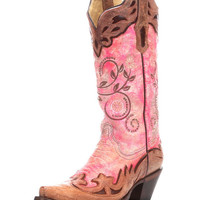 Corral Women's Fluorescent Pink/Cognac Collar and Wing Tip Boot - R1194