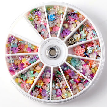 1200pcs Wheel Mixed Nail Art Tips Glitters Rhinestones Slice Decoration Manicure