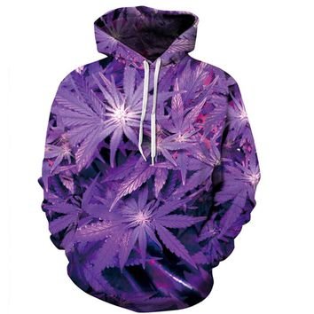 PLstar Cosmos New 3D Hoodie 3D Purple Weed Leaf Print Sweatshirt Fashion Hooded Sweatsuits Tops Size S-XXXL FREE shipping