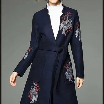 Embroidered Wool Coat W/ Belt