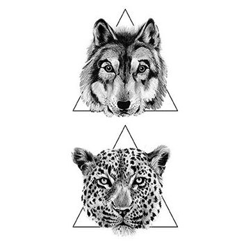 Wolf and Leopard Triangle Temporary Tattoos