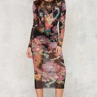 Nasty Gal Birds of Paradise Sheer Midi Dress