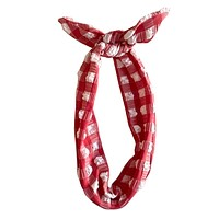Red Gingham Headband
