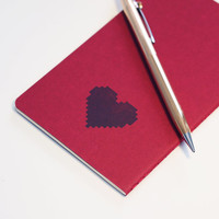 8 Bit Black Hearts moleskine, valentine's day notebook pixel pocket journal (sketch)