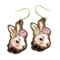 Hand Drawn Illustrated Bunny Rabbit Hare Shaped Dangle Earrings with Floral Details