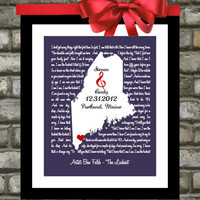 Engagement Gift Song Lyrics Love Map Print Art - Any Location, Any Song - Unique Wedding, Engagement or Anniversary Gift