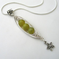 Peas in a Pod Pendant Necklace, Chinese Jade Pendant, Green Jewellery, Summer Gift for Her