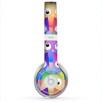 The Multicolored Shy Owls Pattern Skin for the Beats by Dre Solo 2 Headphones
