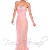 Precious Formals P21011 - Pink/Nude Strapless Sweetheart Illusion Prom Dresses Online