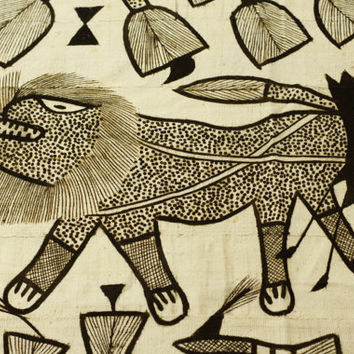 Large Korhogo Mud Cloth Painting - Vintage African Art - Ethnic Senufo Tribal Hand Painted Fabric
