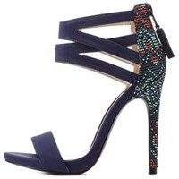 Navy Tribal-Weave Strappy Ankle Cuff Heels by Charlotte Russe
