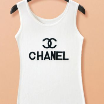 Chanel letter embroidery loose strap ice wire top blouse shirt