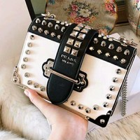 "Hot Sale ""PRADA"" Fashion Women Shopping Leather Metal Chain Chic Rivet Crossbody Satchel Shoulder Bag"