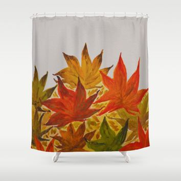 Autumn abstract watercolor 03 Shower Curtain by ViviGonzalezArt