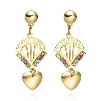 Queen Crown Love Powers Hearts Amulets Fun Sparkling Crystals Gold-Tone Lucky Charms Earrings