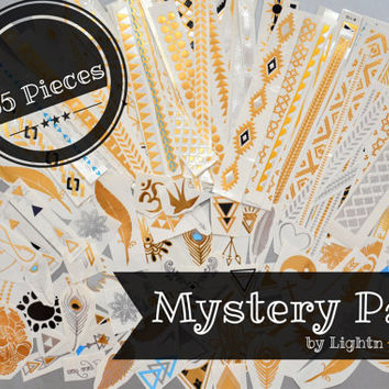 MYSTERY PACK! - 55 Tattoo Pieces - Metallic Silver, Gold, and Black Temporary Tattoo - Flash Tattoo - Easy Application Jewelry Body Ink Art