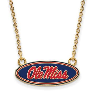 NCAA 14k Gold Plated Silver U of Mississippi Ole Miss Enamel Necklace