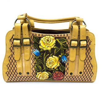 Vibrant yellow hand-painted engraved leather bag