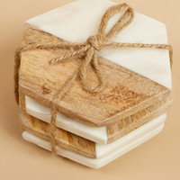 Two by Two Wood & Marble Coaster Set - Home Decor - Gifts/Home Decor