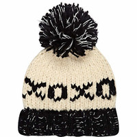 GIRLS BLACK XOXO BOBBLE BEANIE HAT