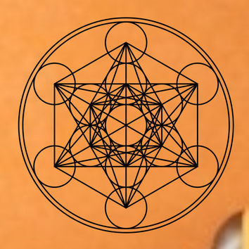 Metatrons Cube Flower Of Life Sacred Geometry Vinyl Wall Decal Sticker Art Decor Bedroom Design Mural interior design
