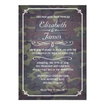 Camo Vintage Chalkboard Wedding Invitations