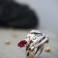 Modern sterling silver and gold ring, ancient ring, antique ring, ruby ring, latin quote jewelry, unique ring size 6, rough ring, unusual