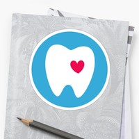 'White tooth on blue circle sticker' Sticker by Mhea