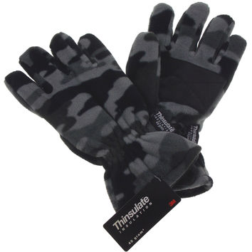 Gray Camo Athletech Fleece Gloves 3M Thinsulate Lined Mens Winter Snow M L XL