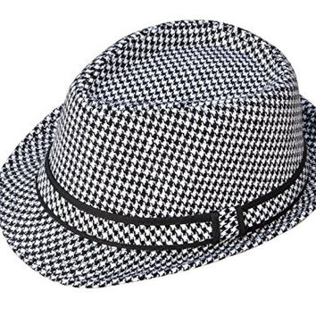Simplicity® Adult Feather Trilby Wool Fedora Hats, Black/White