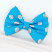 Blue Hair Bow with Metellic Polka Dots Vintage Inspired Hair Clip Rockabilly Pin up Teen Woman