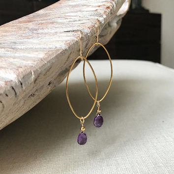 Amethyst Earrings, Amethyst Earrings in Gold or Silver, Gold or Silver Amethyst Hoop Earrings, Amethyst Hoop Earrings, Amethyst Hoop