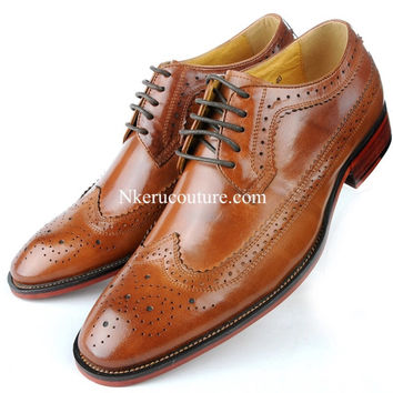 Men's Shoes Oxfords Vintage Wedding Dress Shoes Business Formal Brogue Round Toe Carved Shoes For Men US 6.0-10 Plus Size AS33