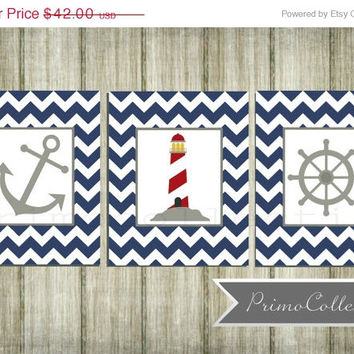 Nursery Wall Art Prints / nautical theme / 8x10 inch / trio / set of three / navy blue chevron / anchor / baby boy / boy's room decor