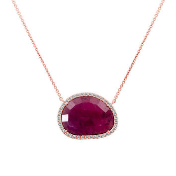 Rough Cut Ruby Slice Necklace with a Halo of White Diamonds