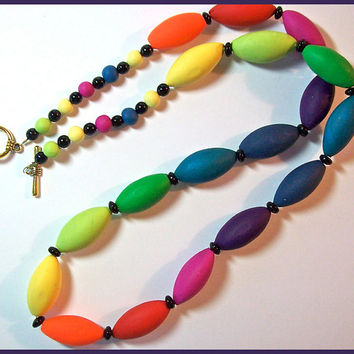 "Necklace Jewel Tones Rainbow Colors Polymer Clay 28"" Long Deep Strong Colors Handcrafted Original Design"