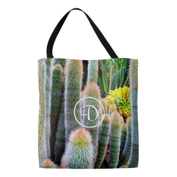 Fuzzy green cacti photo custom monogram tote bag