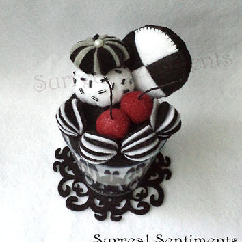 Black and White Cookie Ice Cream Cake, mini Handmade Card & Gift Box, Kawaii Goth Plush Desk Decor, Birthday Memento Keepsake