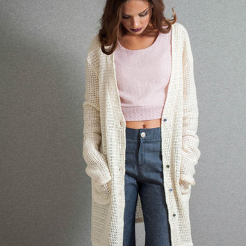 Knitted jacket, long sleeves cardigan, loose jacket, pockets jacket, egg shell jacket