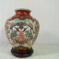 Vintage Asian Inspired Large Ceramic Vase on Wooden Pedestal - Enamel Decorated Heavy Porcelain Jardiniere - Decorator Ginger Jar Wood Base
