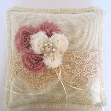 Burlap Ring Bearer Pillow with Champaign Lace Dusty Rose and Ivory Shabby Chiffon Flowers and a Pearl and Rhinestone Accent Custom Order