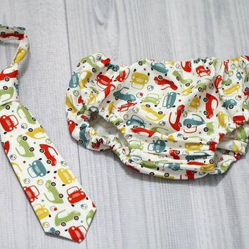 cruiser cars Baby Boy Diaper Cover and Tie set. Choose colors and size. Birthday Cake Smash Set. Church, Wedding Tie