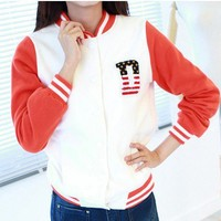 White Red Womens Letter D Varsity Baseball Jacket