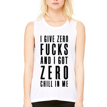 """Ariana Grande """"Side to Side - I Give Zero F*cks & I've Got Zero Chill In Me"""" Muscle Tee"""