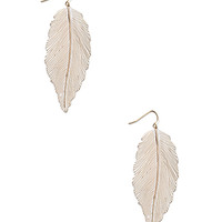 FOREVER 21 Painted Feather Drop Earrings Gold/Cream One